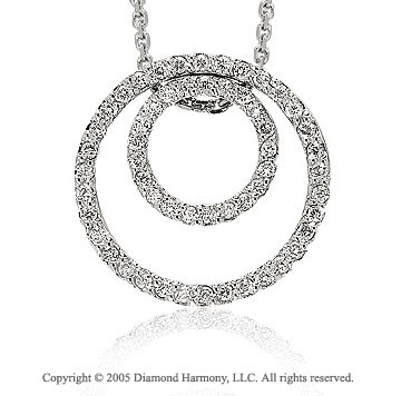 14k White Gold Diamond Double Circle of Life Pendant