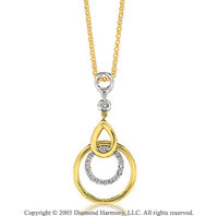 14k Two Tone Gold 1/6 Carat Diamond Circle Pendant