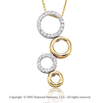 14k Two Tone Gold Multi Circle 1/2 Carat Diamond Pendant