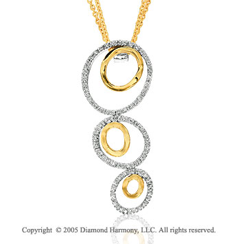 14k Two Tone Gold 1/2 Carat Diamond Triple Circle Pendant