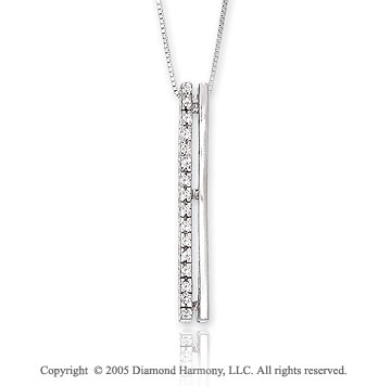 14k Diamond 1 1/4 Inch Drop Stiletto Dangle Pendant Necklace