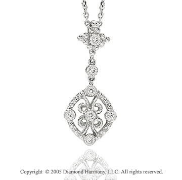 1/10  Carat Diamond Vintage Style Filigree Pendant Necklace