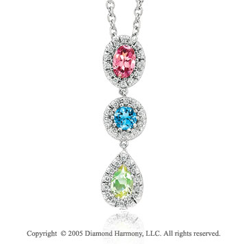 1.45  Carat 14k Diamond Topaz Quartz 3 Stone Pendant Necklace