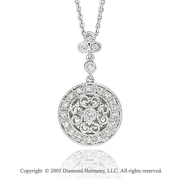 14k Diamond Pave White Gold Art Deco Style Pendant Necklace