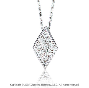 Diamond Shaped 14k White Gold Pendant