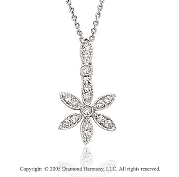 14k Diamond White Gold Bezel Flower Drop Pendant