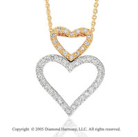 14k Two Tone Gold Double Heart 1/4 Carat Diamond Pendant