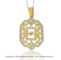 14k Two Tone Gold Yellow Sapphire Diamond Pendant