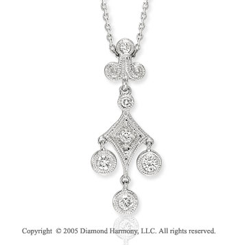 14k White Gold Round Six Diamond Pendant