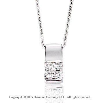 14k White Gold Round Prong Diamond Pendant