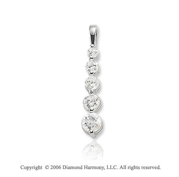 14k White Gold Drop .50  Carat Diamond Journey Pendant