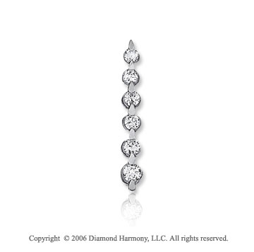 14k White Gold Drop 1.00  Carat Diamond Journey Pendant