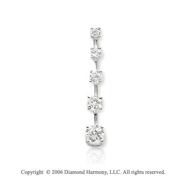 14k White Gold Long Stem .50  Carat Diamond Journey Pendant