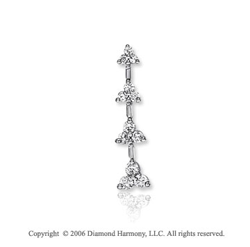 14k White Gold Drop 4 Trio .50  Carat Diamond Journey Pendant