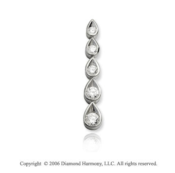 14k White Gold Teardrop .50  Carat Diamond Journey Pendant