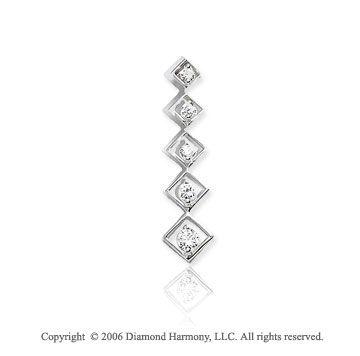 14k White Gold Drop .50  Carat Double Diamond Journey Pendant