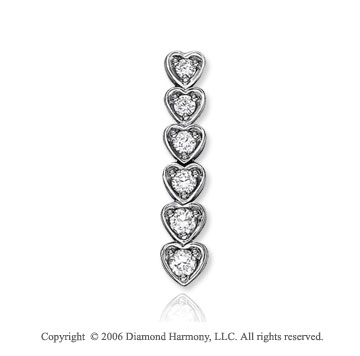 14k White Gold Circle Heart 1.00  Carat Diamond Journey Pendant