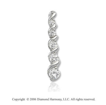 14k White Gold Drop Vine Wrap .50  Carat Diamond Journey Pendant