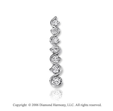 14k White Gold Vine Drop 1.00  Carat Diamond Journey Pendant