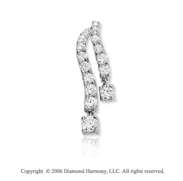 14k White Gold Dual Length .60  Carat Diamond Journey Pendant