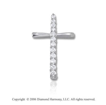 14k White Gold Cross .50  Carat Diamond Journey Pendant