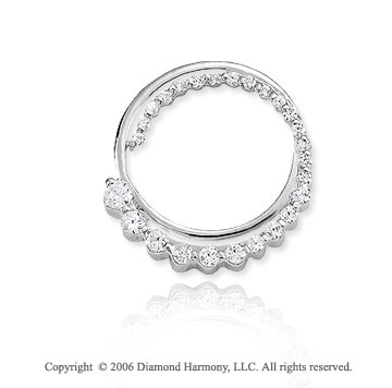 14k White Gold Circle .50  Carat Diamond Journey Pendant