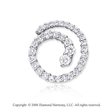 14k White Gold Spiral .50  Carat Diamond Journey Pendant