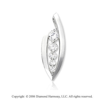 14k White Gold Curved 1/2 Carat Diamond Journey Pendant