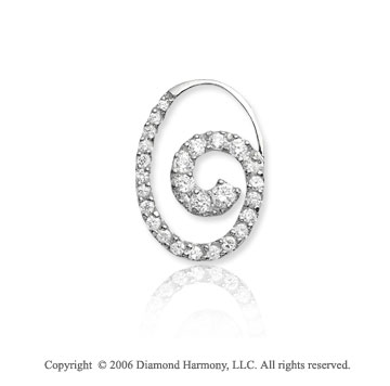 14k White Gold Oval Spiral 2/3 Carat Diamond Journey Pendant