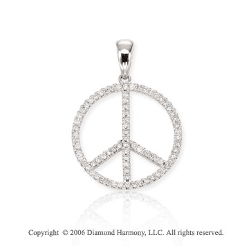 14k White Gold Peace Sign 1/2 Carat Diamond Pendant