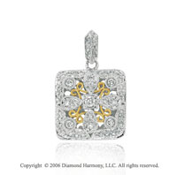 14k Two Tone Gold Filigree 1/4 Carat Diamond Pendant