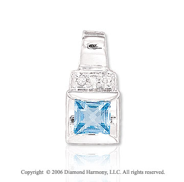 14k White Gold Princess Blue Topaz Diamond Pendant