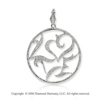 14k White Gold Filigree Milgrain Circle 1/4  Carat Diamond Pendant