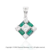 14k White Gold Baguette Emerald 1/5  Carat Diamond Pendant