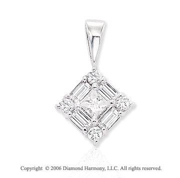 14k White Gold Princess Baguette 2/3  Carat Diamond Pendant