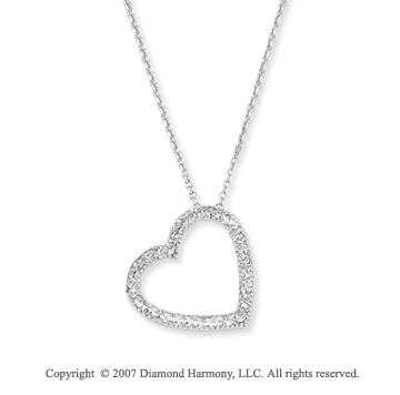 14k White Gold 3/4 inch Pave Cut Open Heart Pendant