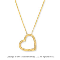 14k Yellow Gold 3/4 inch Pave Cut Open Heart Pendant