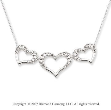 14k White Gold 1 7/8 inch Pave Cut Three Hearts Pendant