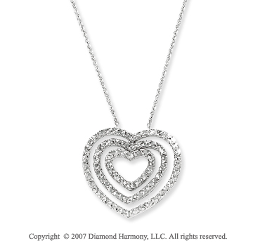 14k White Gold Pave Cut Three Layered Hearts Pendant
