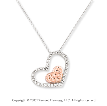 14k Two Tone Gold Pave Cut Dual Open Hearts Pendant