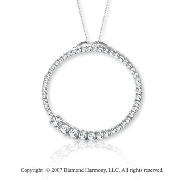 14k White Gold Eternity 1 Carat Diamond Journey Pendant