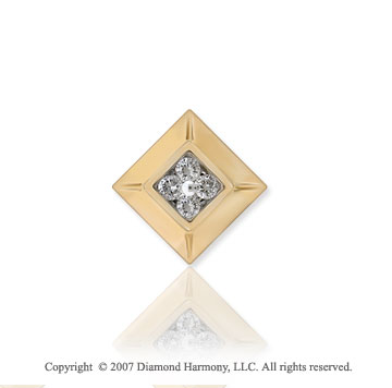 14K Yellow Gold Square Spring Ring Diamond Pendant
