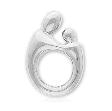 14k White Gold Mother and Child�  Brooch Charm Pendant