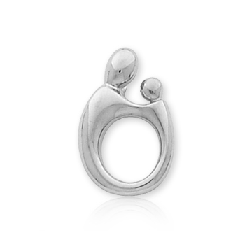 14k White Gold Mother and Child�  Small Charm Pendant