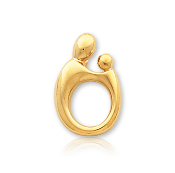 14k Yellow Gold Mother and Child�  Small Charm Pendant