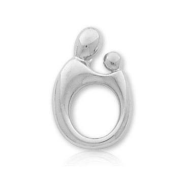 14k White Gold Mother and Child�  Large Charm Pendant