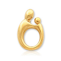 14k Yellow Gold Mother and Child�  Large Charm Pendant