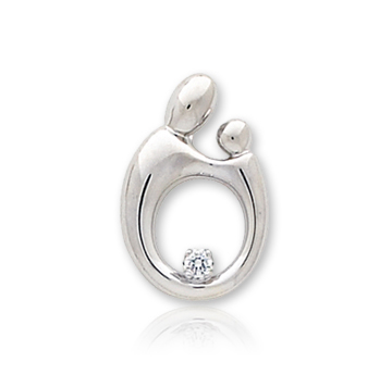 14k White Gold Mother and Child�  Diamond Small Charm Pendant