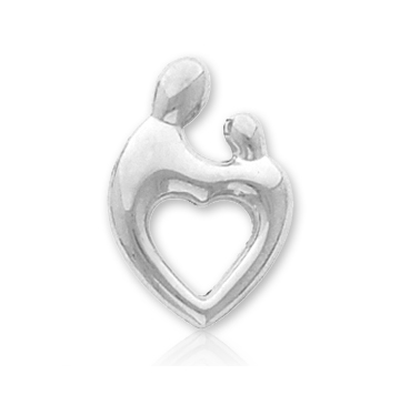 14k White Gold Heart Mother and Child�  Charm Pendant