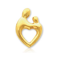 14k Yellow Gold Heart Mother and Child� Charm Pendant